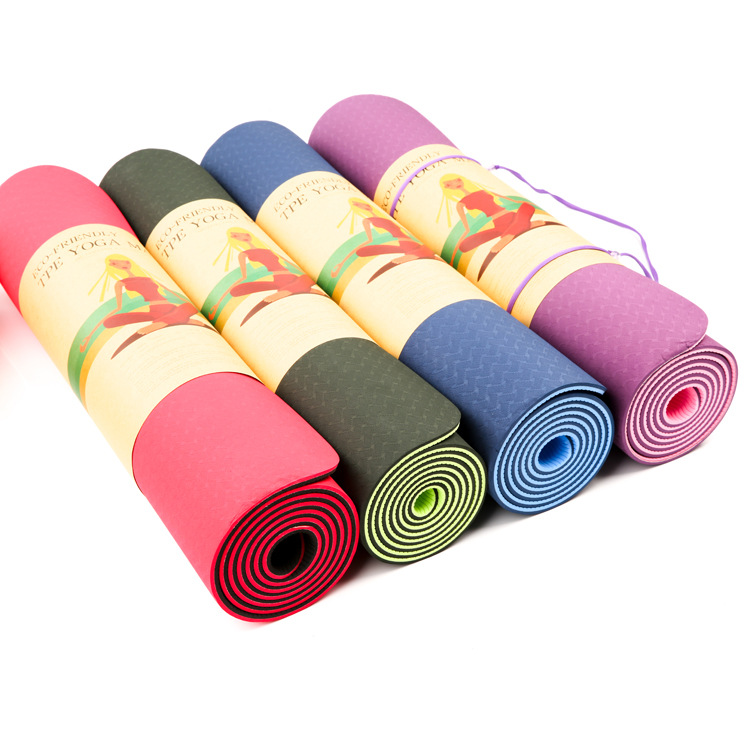 Genuine 6mm Double Colors TPE Yoga Mat Household Field