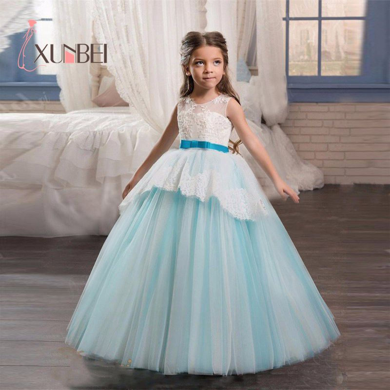 Princess Ball Gown Blue Tulle   Flower     Girl     Dresses   2019 Lace Applique   Girls   Pageant   Dress   First Communion   Dresses   Party Gown