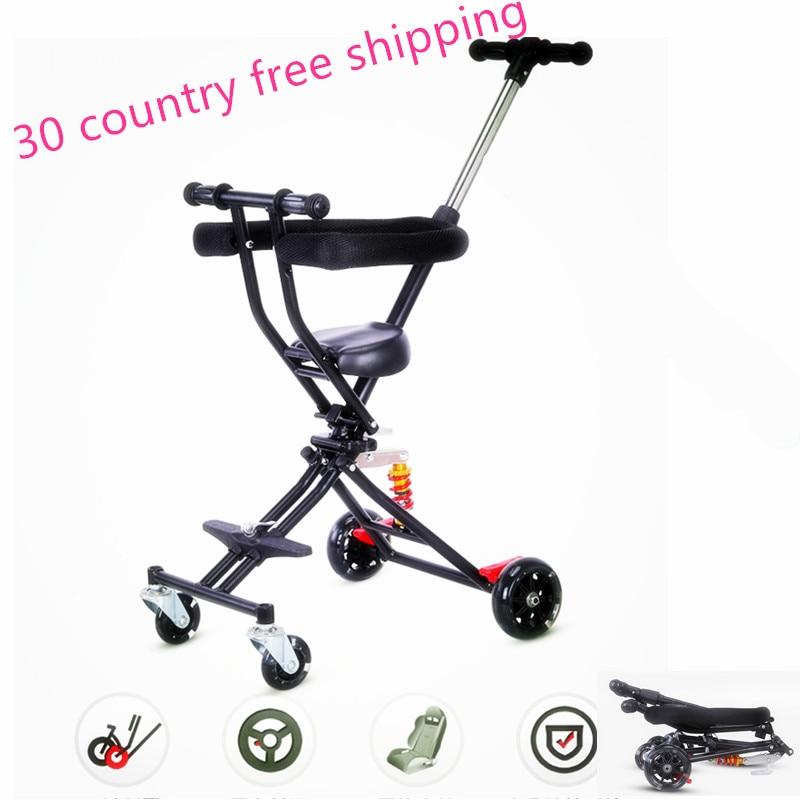 Mini-chariot portatif pliant bebe micr trike xl tricycle 1-6 bébé marchant bébé wagons bébé chariot léger shopping scooter panier
