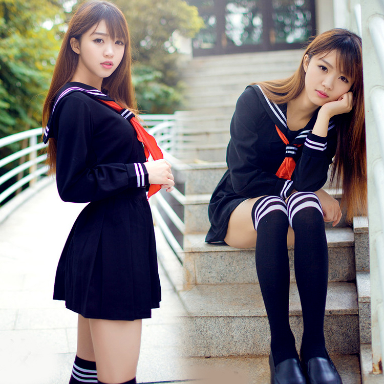 <font><b>Japanese</b></font> sailor suit Anime costume Girls High <font><b>school</b></font> student <font><b>uniform</b></font> ,Long-sleeve JK <font><b>uniform</b></font> <font><b>sexy</b></font> clothing navy color image