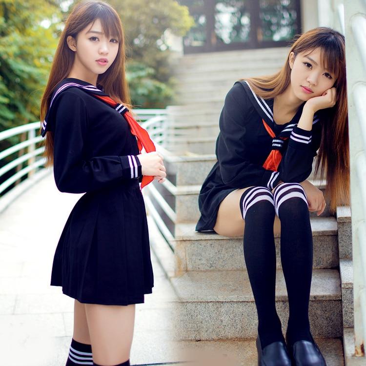 Japanischer Matrosenanzug Anime Kostüm Mädchen Highschool Schüleruniform, Langarm JK Uniform sexy Kleidung Marinefarbe