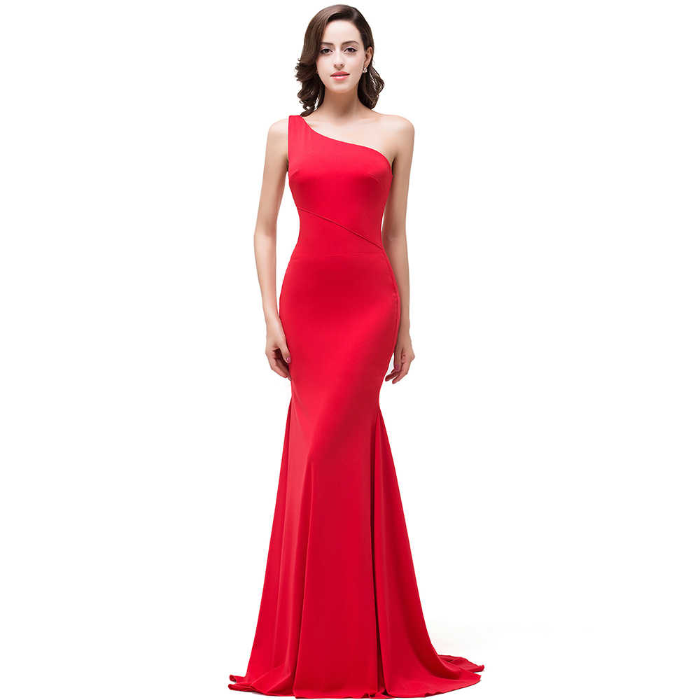[Schluss Klar out] Abendkleid 12 Neue Eine Schulter Meerjungfrau Elegante  Rote Lange Abendkleid Formale Kleid Vestido de Festa Longo