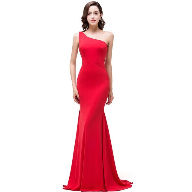 2362fd5ae6 Vestido de noche 2017 Nueva Sirena de Un Hombro Elegante Vestido Rojo de  Noche Largo Vestido