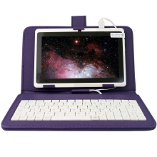 YUNTAB 7 pulgadas color blanco Q88 Android4.4 Tablet PC Quad Core touch screen1024 * 600 con Doble Cámara (añadir teclado de color púrpura)
