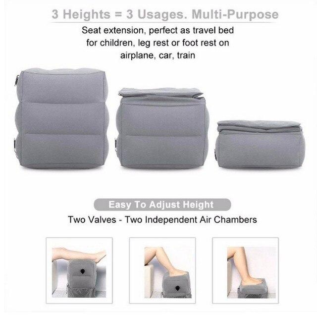 Путешествия ног подушки детские надувные регулируемая высота дети полета подушка для ног два клапана дизайн надувная подставка для ног
