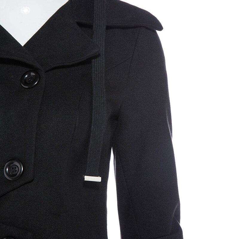 Kinikiss femmes hiver Long Trench manteau noir gothique col rabattu bouton Vintage pardessus tunique jupe Slim dame vêtements Outwear manteaux - 5