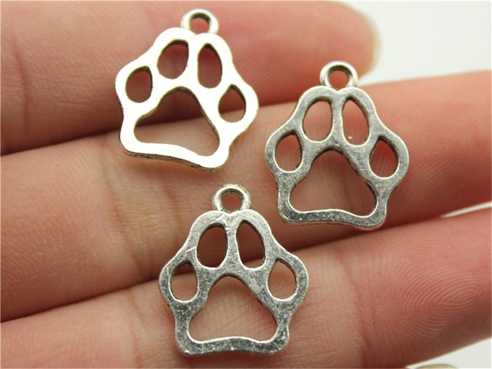 Antique Silver Nice Wysiwyg 15pcs 19x17mm 3 Colors Antique Gold Antique Bronze Hollow Dog Paw Charms For Jewelry Making 100% Original