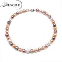 11 12 мм Настоящее натуральное пресноводное жемчужное ожерелье для женщин, многоцветный хороший блеск Свадебный круглый большой жемчужный о