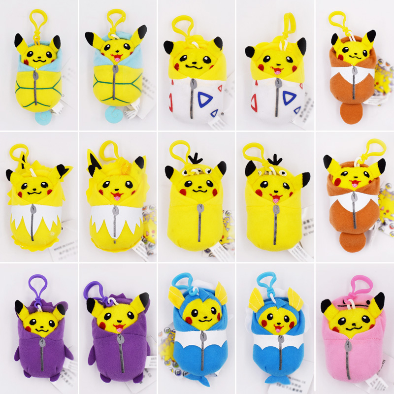 15Styles/Set 10cm Pikachu Cosplay Eevee Jolteon Magikarp Togepi Squirtle Gengar Ditto Psyduck Keychain Keyring Pendant Plush Toy цена 2017