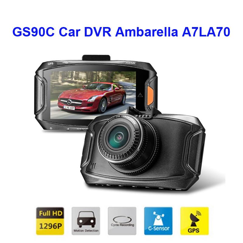 Prix pour D'origine GS90C Voiture DVR Ambarella A7LA70 1296 P 30FPS 2.7 pouces Voiture Caméra Vidéo Enregistreur 170 Degrés HDR + G-capteur + GPS Dash Cam