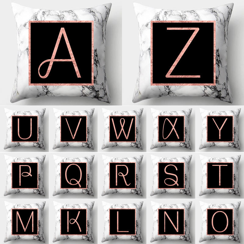 Marble Alphabet Letter Pillow Case Polyester Cushion Cover Decoration Home Sofa Decorative Pillowcase Decor For Home 40554