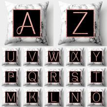 Funda de almohada con letras del alfabeto de mármol, funda de cojín de poliéster para decoración del hogar, sofá decorativo, funda de almohada decorativa para el hogar 40554