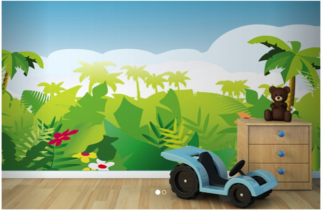 Papel personalizado de pared infantil dibujos animados - Mural pared infantil ...