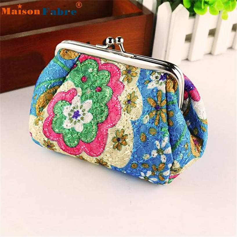 High quality Women Lady Retro Vintage Flower Small Wallet Hasp Purse Clutch Bag drop shipping wholesale 170215 2016 new brand short women s wallet high quality guarantee designer s high heeled shoes hasp purse for lady free shipping