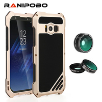 3 in 1 Lens for Samsung Galaxy S8 Plus Protective Shockproof Cases with macro wide-angle fisheye Lenses + Tempered Glass