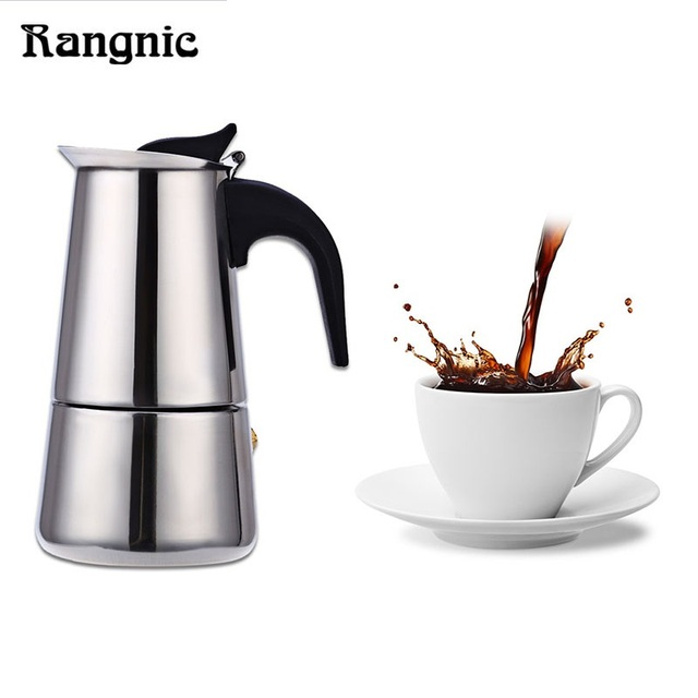 Rangnic Espresso Moka Coffee Maker Stainless Steel Percolator Mocha Latte Stovetop Filter Pot