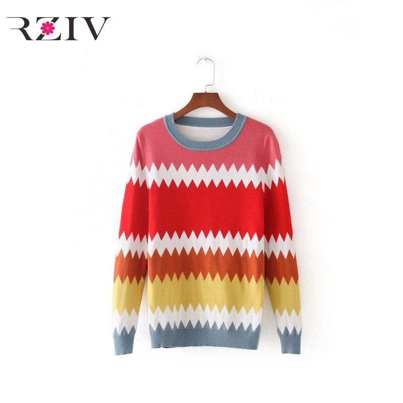RZIV 2017 autumn female sweater fashion casual sweater mixed colors rainbow