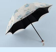 Double-layer embroidered lace embroidery umbrella anti-ultraviolet sunshade sunshine Umbrella Black Rubber sunumbrella