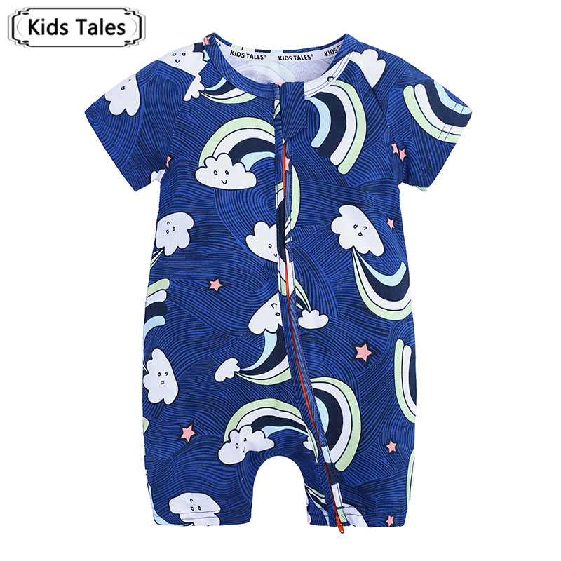 Toddler Kids Baby Boy Blue Short Sleeve   Romper   Print Zipper O-neck Jumpsuit Outfit Clothes SR433