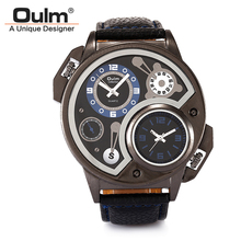 Oulm 3578 Double Movt Male Quartz Watch Leather Band Wristwatch Military Sport Round Dial Famous Brand Luxury Men's Watch