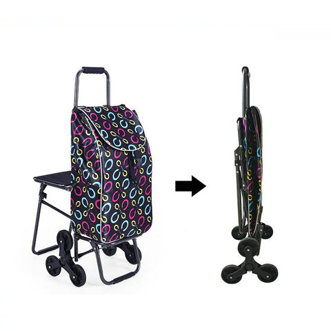 Home Climb Stairs Shopping Cart with Waterproof Bag, Household Trolly with seat, Steel Frame Shopping Cart, Pull Rod Cart Islamabad