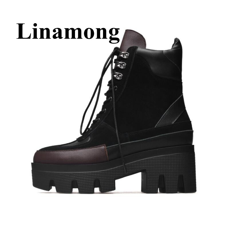 2018 Newest Shoes Genuine Leather Sied Zipper Round Toe Chunky Heel 3.5 CM Platform Two Color Winter Lace Up Women Ankle Boots2018 Newest Shoes Genuine Leather Sied Zipper Round Toe Chunky Heel 3.5 CM Platform Two Color Winter Lace Up Women Ankle Boots