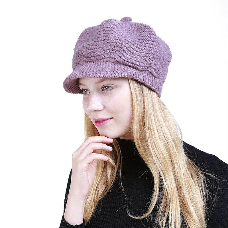 Women Fashion Solid Warm Crochet Winter Wool Knit Manual Caps Hat 2018 Girl Lady Warm Hat Elegant Casual Wool Cap Female Visors
