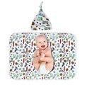 Floral Impreso Pañales Del Bebé con el Casquillo Lindo de la Historieta Swaddle Wrap Manta Pañales de Algodón Suave Saco de dormir + Hat