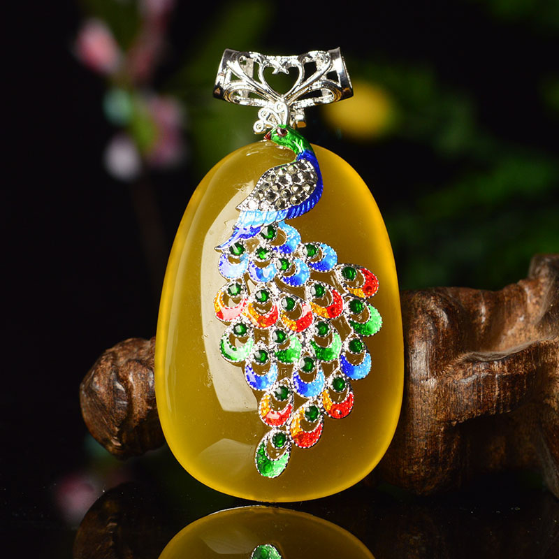 Natural Chalcedony Phoenix Pendant Necklace Drop Shipping Retro 925 Silver Lucky Amulet Lovers Necklace For Men And Women in Pendants from Jewelry Accessories