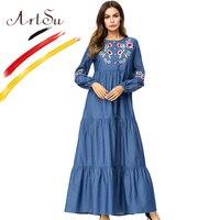 ArtSu Women Casual O Neck Floral Embroidery Swing Maxi Dress Robe Longue Femme Autumn Plus Size Long Sleeve Denim Ethnic Dresses