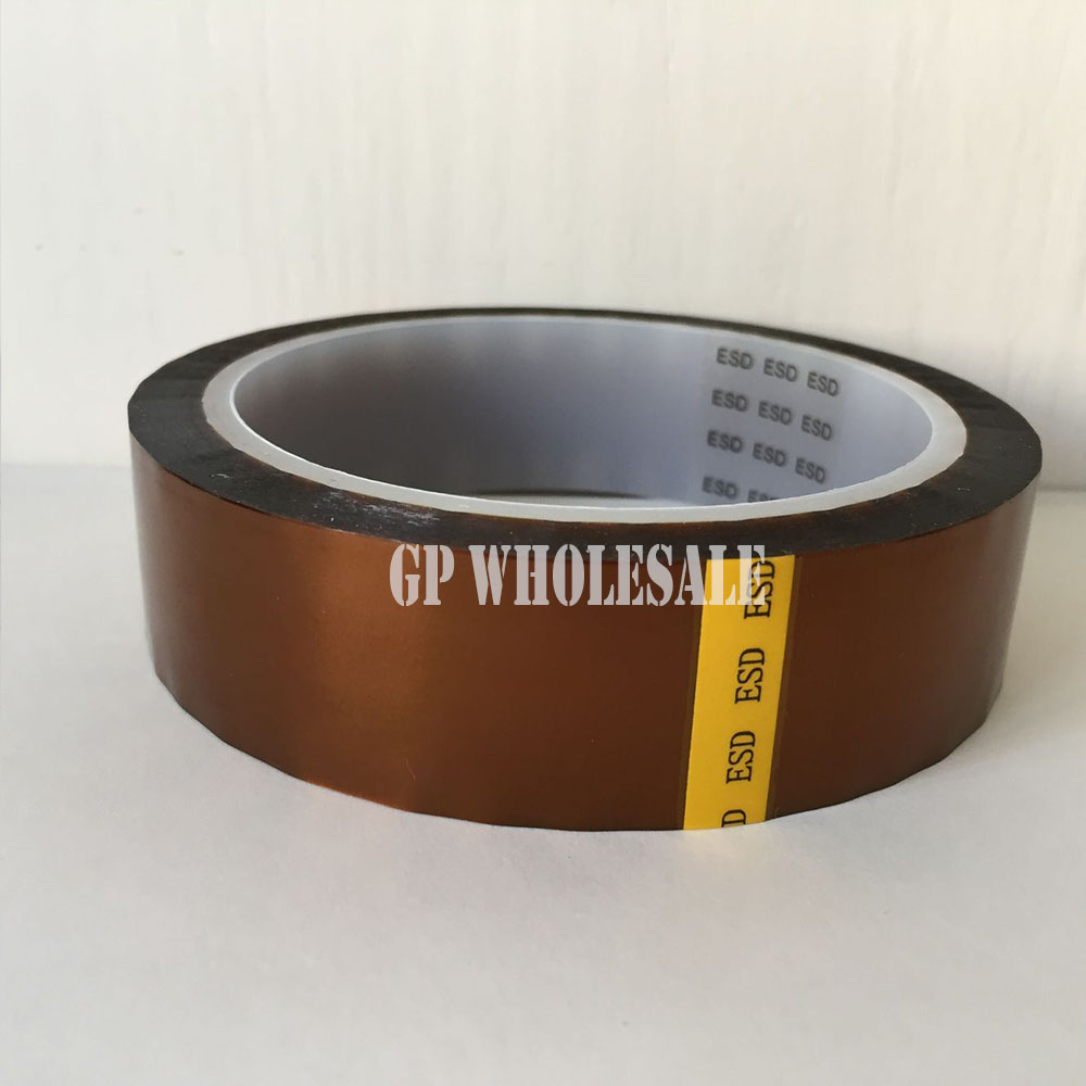 0.06mm Thick 60mm*33M High Temperature Resist ESD One Sided Sticky Tape, Polyimide Film for Lithium Battery Polarity Protection 110mm 33 meters 0 08mm single side heat resist sticky pet polyester film tape for protection
