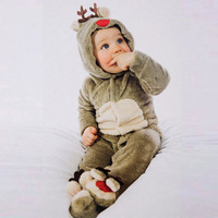 Baby Autumn Winter Clothes Long Newborn Infant Sleeper Coral Velvet Winter Long Sleeve Christmas Moose Jumpsuit