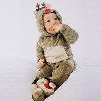 Baby Autumn Winter Clothes Long Newborn Infant Sleeper Coral Velvet Winter Long Sleeve Christmas Moose Jumpsuit