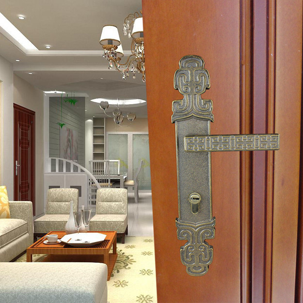 Suppliers Qin ancient Chinese style door elements retro copper door Villa door lock factory outlets