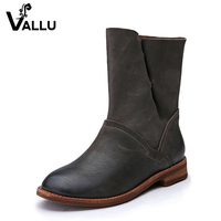 2017 Winter Leather Women Boots Flat Heel Cow Leather Button Handmade Women Shoes Ankle Boots