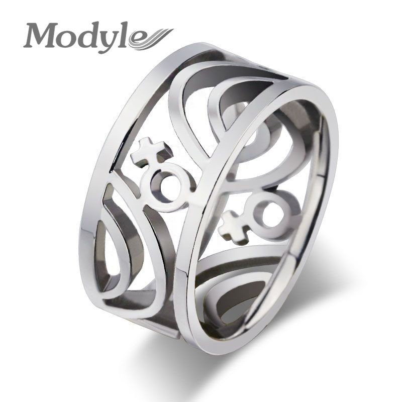 modyle new fashion lesbian rings stainless steel gay pride rings for women with female symbol - Lesbian Wedding Rings
