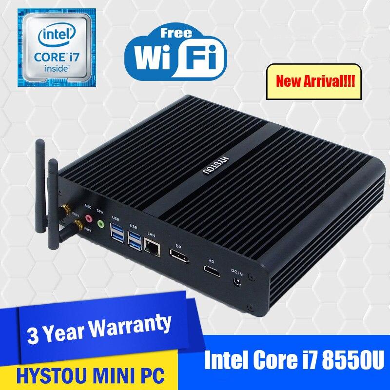 Hystou Intel Gaming Core I7 8550U Barebone Fanless Mini PC Windows 10 Linux UHD 4K