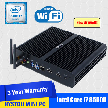 Hystou Intel i7 Gaming PC Core i7 8550U Barebone Fanless Mini PC Windows 10 Linux UHD 4K HTPC Desktop Computer DDR4 2666MHz