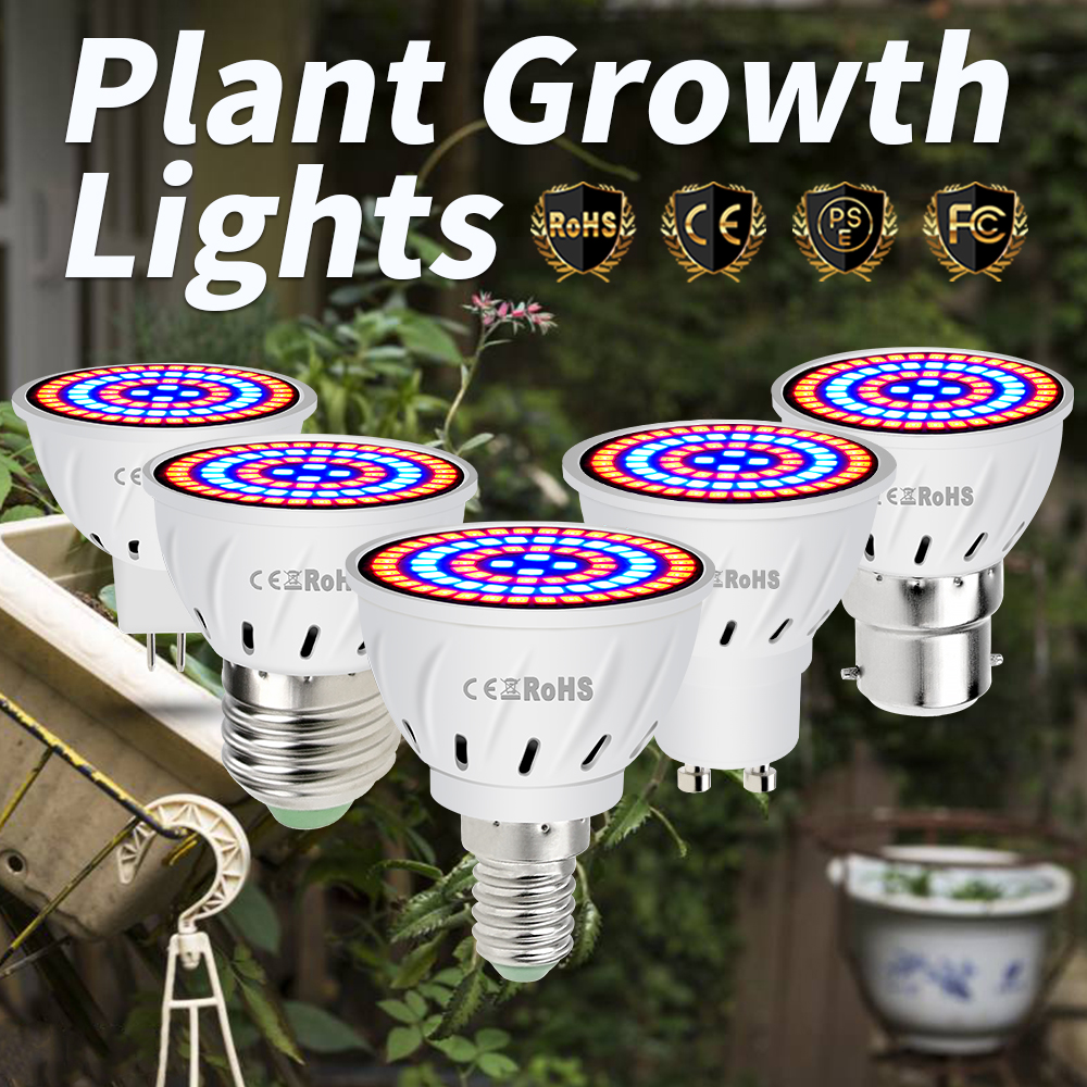 B22 Led Indoor Growth Light E27 Led Bulb 220V E14 Led Plants Fito Lamp Flower Seedling 4W 6W 8W GU10 Kweek Lamp Grow Tent MR16