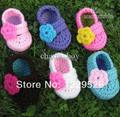 2014 New design handmade crocheted baby shoes Infant First Walkers shoes Toddler shoes  e 0-12 infant flower shoes.