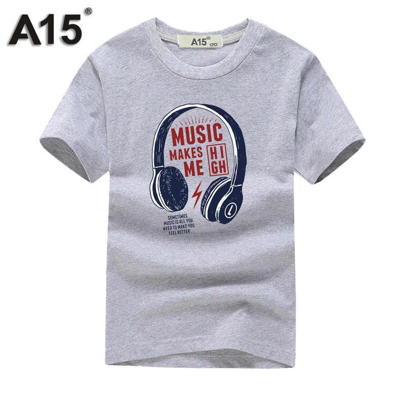 A15 Marca Engraçado T camisas Dos Miúdos Meninas Adolescentes Tops e Blusas Curtas manga Verão 2018 Meninos Roupas Crianças Camiseta de Algodão Tamanho 10 12 14