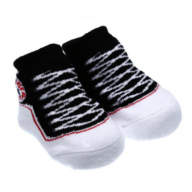 New Cute Cotton Newborn Baby Infant Bebe Anti slip Fake Converse Floor Shoe  Rubber Sole Slipper Socks Boys Girls 0 12 months-in Socks from Mother   Kids  on ... 2bc1292bdfed