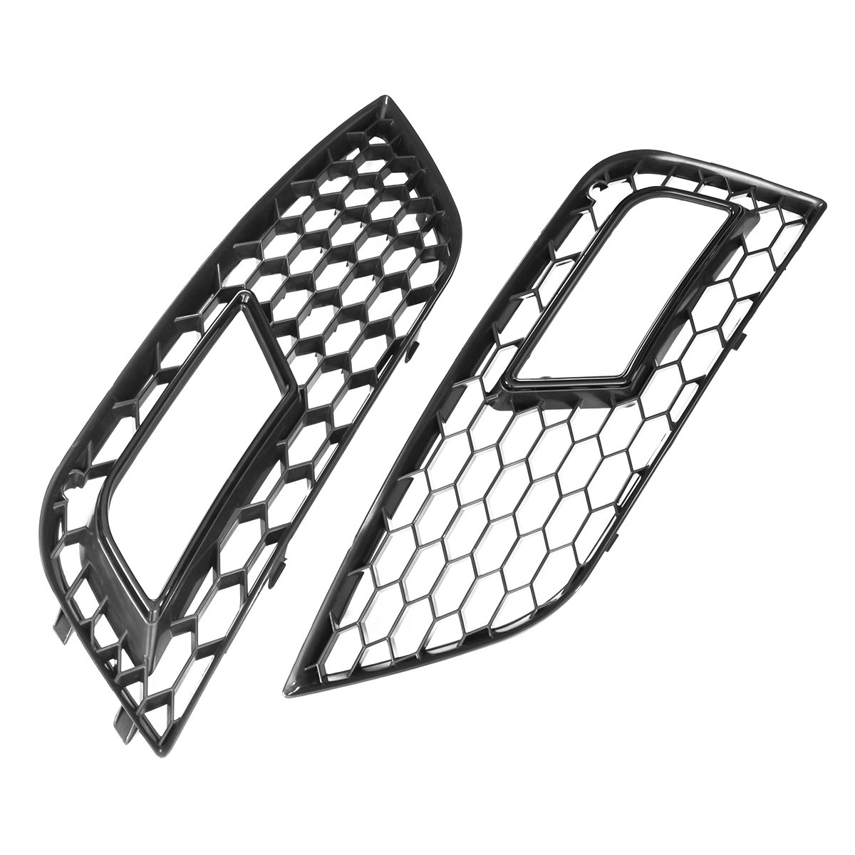 Pair Gloss Black Front Mesh Fog Light Grid Grilles For Audi A4 For QUATTRO 2013-2016 undefasa royal gold gloss grid 25x75