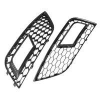 Pair Gloss Black Front Mesh Fog Light Grid Grilles For Audi A4 For QUATTRO 2013 2016