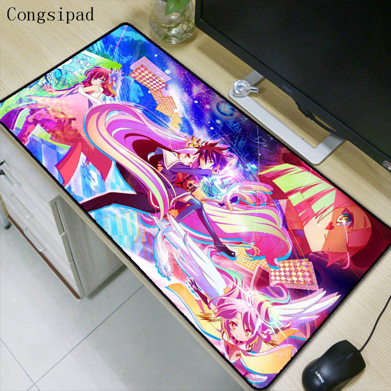 Congsipad NO Game No Life <font><b>Anime</b></font> Large Mouse Pad <font><b>Mousepad</b></font> Natural Rubber Gaming Table Mouse Mat with Locking Edge for CSGO DOTA 2 image