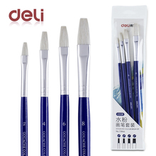Deli 4pcs gouache paint brush pen set quality wood wool for school drawing brushes for watercolor acrylic oil art supplies gifts 25 pieces art paint brush value set for oils acrylic gouache