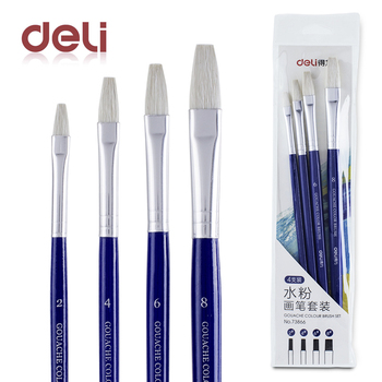 Deli 4pcs gouache paint brush pen set quality wood wool for school drawing brushes watercolor acrylic oil art supplies gifts