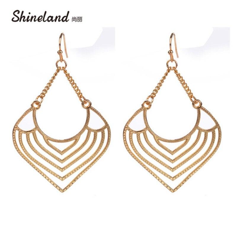 3cee03c34d44 Oro de Rose color plata Aleación de la vendimia pendientes pendiente grande  con hueco cuelgan los pendientes para las mujeres moda joyería
