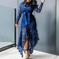 Elegant Vintage Party Sexy Black Big Size Women Long Dresses Hollow Lace Mesh Beach Bodycon Blue 4XL African Fashion Maxi Dress