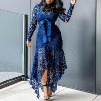 Elegant Vintage Party Sexy Black Big Size Women Long Dresses Hollow Lace Mesh Beach Bodycon Blue 4XL African Fashion Maxi Dress